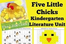 Kindergarten Literature Unit Ideas ~ Five Little Chicks / Printables, crafts and ideas centered around the book, Five Little Chicks.