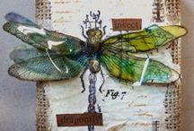 Cards Etc. - Butterflies & Dragonflies / Cards, tags, inches, ATCs... with butterflies and dragonflies. Love the inspiration!