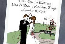 Wedding :: Save the Date :: philoSophie's® / Wedding Save the Date cards! Each has a custom illustration that shares the unique style & story of the wedding couple.