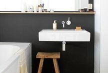 Bathroom / Scandinavian style, tiles, small sqm.geometric tile, B&W