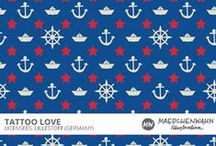 MW TATTOO LOVE Pattern Design for Lillestoff / Feel free to enquire me about pattern licensing or wholesale conditions. Contact me for any questions!  KONTAKT@MAEDCHENWAHN.COM Maedchenwahn Surfacedesign for Lillestoff  Design: Tattoo Love  Maedchenwahn fabric designs are produced in cooperation with the textile company lillestoff GmbH. For more informations and wholesale condotions please contact lillestoff GmbH. Please send inquiries to: info@lillestoff.com