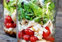 Salad in a jar / Transport your packed lunch, pack a picnic, or serve portions at a bbq or buffet.
