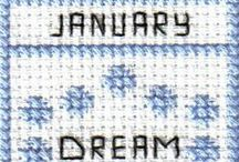 free monthly mini-sampler cross stitch patterns / Monthly mini samplers to stitch as individual projects or together.  Right click and save the patterns from here on pinterest and then follow the link for the pattern key and instructions.
