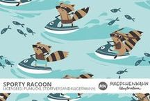 MW SPORTY RACOON Patterndeisgn for Stoffversand4u / Maedchenwahn Surfacedesign for Pumuckl Stoffversand4u Design: Sporty Racoon  Feel free to enquire me about pattern licensing or wholesale conditions. Contact me for any questions!   kontakt@maedchenwahn.com  Maedchenwahn fabric designs are produced in cooperation with the textile company Pumuckl Stoffversand4u.  For more informations and wholesale condotions for this fabric please contact Pumuckl Stoffversand4u.