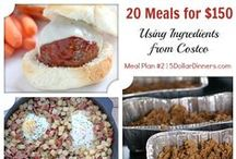Plan #2: 20 Meals for $150 / These are the meals for the Costco Plan #1 and Costco Plan #2 meal plans.  Below are the 20 meals from Costco that will cost $150 for all the ingredients. Also, there are printable resources available as well to have everything in one place including the shopping list, recipes, ingredients lists and more.  http://www.5DollarDinners.com / by $5 Dinners {Erin Chase}