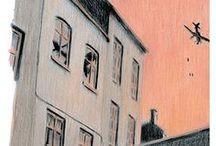 """Il piccolo burattinaio di Varsavia, Eva Weaver / Polonia, 1938.  La storia di un coccodrillo, un giullare, una scimmia, una principessa e un principe: sono i burattini di Mika, un bambino di Varsavia. E poi la storia di Max, un ufficiale tedesco che gli propone un patto terrificante... Ecco una selezione delle illustrazioni di Piero Macola contenute ne """"Il piccolo burattinaio di Varsavia"""", un libro che ci racconta come la fantasia e il sogno siano un antidoto al buio e alla tragedia / by Libri Mondadori"""