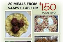 20 Meals from Sam's Club for $150 / Below are several meal plans for 20 meals from Sam's Club that will cost about $150 for all the ingredients. Also, there are printable resources available as well to have everything in one place including the shopping list, recipes, ingredients lists and more. http://www.5DollarDinners.com / by $5 Dinners {Erin Chase}