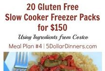 "Plan #4: 20 GF Meals for $150 / Well, it's BACK TO SCHOOL season and I thought what better way to help you survive and thrive the busyness than with a 20 Meals from Costco for $150 plan that is made up of all ""Gluten Free Slow Cooker Freezer Packs"" where you can assemble EVERYTHING in less than 2 hours!!!  / by $5 Dinners {Erin Chase}"