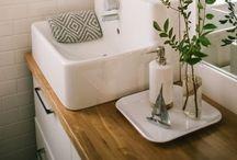 Baño / Ideas para un baño estrecho y pequeño.