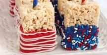 4th of July Entertaining Ideas / Food and decorations for celebrating in a patriotic palette of red, white & blue for Fourth of July.