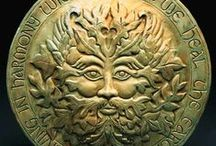The Green Man / The Green Man is an ancient symbol connected with woodlands, a face peering through leaves, often with foliage growing from his mouth and nose. He is found in mediaeval churches, ancient temples, in Roman mosaics and in Victorian civic buildings. Today he is a common sight on wall plaques, at craft fairs, and even on business logos and pub signs. He is also used as a symbol by environmental and spiritual movements. See 'A man for all seasons' in Springboard Stories – Issue 7: Woodlands.
