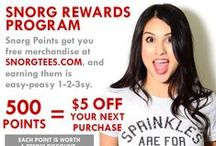 SnorgTees: Rewards, Promos & Specials / Stay up to date with the latest deals, promos and specials from SnorgTees.  Interested in exclusive specials?  Join the free SnorgTees Rewards Program - you'll earn points that you can redeem for discounts on future purchases.  Visit www.SnorgTees.com today to sign up. / by SnorgTees