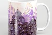 Ebi Emporium Coffee Mugs / Yes, we all enjoy a really good cup of coffee, tea, hot cocoa, etc. We want to savor the taste, but we ALSO want to do it in style! Be awesome, and have the most colorful abstract artistic coffee mugs around in YOUR kitchen!~ / by Julia Di Sano
