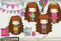 Super Cute Birthday Clipart and Digital Stamps