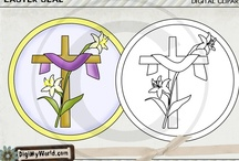 Easter Clip art & Digital stamps