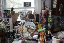 art studio sneaks / Art studios, craft rooms and other artsy storage ideas / by Kim FAucher
