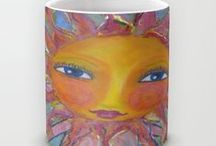 Drink A Cup of My Art - A Wrap of Whimsy / Whimsies of Light Mug Collections - Need a little smile with your cup of java (coffee) in the mornings? Or a pick me up with your soup du jour? Sizes 11 oz to 15 oz  - $15 - $18