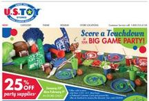 Football Party Theme Ideas / Creative ideas to score a touchdown at your next party.  Take everyday items that you can find at US Toy and make them in to great party favors, table decor and food holders.