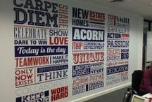 Wordles! / Word clouds or tags have crossed over from online to print. Grouping together words and phrases makes an eye-catching wall feature, as our clients are discovering! We print the words to self-adhesive vinyl, which can be applied almost anywhere! Different colours, fonts and sized text can be included.  http://www.mplinteriors.com/project-category/what-we-do/shop-fit-out/3d-logos-media-walls/