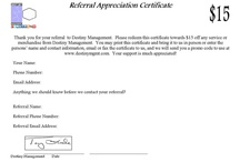 Referral Appreciation Certificate / 