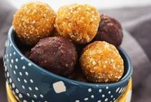 Food | Balls & Bites / Bite-sized healthy snack recipes that are portable, poppable, and unstoppable! For more inspiration and ideas, visit my blog at www.sinfulnutrition.com