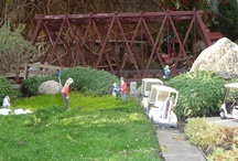 GARDEN RAILROAD / We have a Garden Railroad in our yard with G scale trains, a golf course, town, farm, rodeo, pond w/waterfall, and a lake on the golf course.