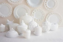 Vintage Milk Glass / Milky opaque, or translucent glassware which comes in colors including blue, pink, yellow, brown, black, and white.  A beautiful part of history. / by Matrixbabe Vintage
