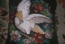 antique needlework,needlepoint,woolwork / some of my needlework and ribbonwork i have collected and a few fantastic pictures i found  / by Paula Whalley