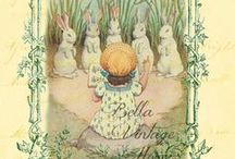 Easter / a time for renewal and birth a resurrection little girls in pretty dresses colored eggs on the lawn