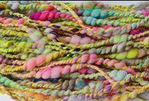 My Handspun and Hand Dyed Yarn / 222 Handspun textured / art yarn and hand dyed yarn
