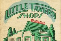 Little Tavern Shops / 'Buy em' by the bag' hamburgers. We usually ate them at 2am, as they were open all night. Best drunk food ever. Back in the late 70's a small burger cost 15 cents and a large was a quarter. We use to scrape behind the seats of the car to get $$$ to eat and we always found enough change.
