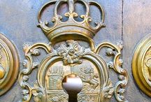 "Doors-Knockers, Letter Boxes & Hardware /  ""A very little key will open a very heavy door.""  ― Charles Dickens  / by Pamela Osborne"