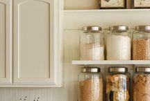 kitchen makeover / gray, light blue, black, white