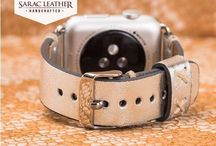 Silver Leather Apple Watch Band