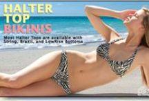 Women's Tan Through Halter Top Bikinis / Available at www.cooltan.com! Halter Top: $31.95 Brazil Bottom: $27.45 Lowrise Bottom: $27.95