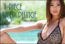 NEW! Women's Deep Plunge One-Piece Suit / Available at www.cooltan.com! Price: $58.95 Sizes: S - XXL