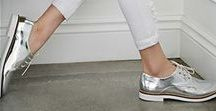 silver shoe inspiration / Silver shoes, Silver brogues, ways to wear silver shoes,