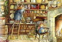 Brambly Hedge / Brambly Hedge is a series of illustrated children's books by Jill Barklem, based around a community of self-sufficient mice who live together in the tranquil surroundings of the English countryside. The books, whose first titles were published in 1980, are written and illustrated by Barklem. The first four books follow a seasonal pattern of Spring, Summer, Autumn and Winter. Her latter four follow the adventures of The Secret Staircase, The High Hills, Sea Story and Poppy's Babies.