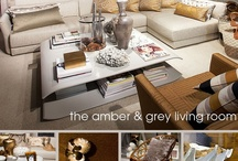 Grey & amber living room
