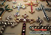 OUR CROSS PENDANTS / Beautiful handmade bejeweled cross pendants for the whole family! To purchase: www.etsy.com/shop/SeaRavenCrosses