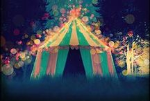 life's a carnival / all that is circus- or carnival-related.  sideshows, bearded ladies, circus tents, caravans, color, cotton candy.