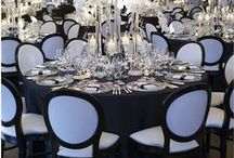 Black and White Wedding Theme / Black and white ideas and themes for wedding venue decorations, bridal accessories and stationery