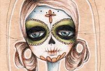 dia de los muertos <3 / day of the dead + calaveras + colour