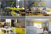 Decore com Amarelo / Ambientes decorados com vários tons de amarelo para inspiração. O amarelo é sinal de intelectualidade. É a cor do sol, do otimismo, da alegria. É ideal para locais estressantes, pois alivia a sensação de esgotamento mental. O amarelo também aumenta o apetite, por isso não deve ser empregada em excesso na cozinha ou na sala de jantar. É aconselhável para o escritório ou sala de trabalho.