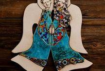 Anioły ceramiczne / Anioły ceramiczne, wykonywane i szkliwione ręcznie przez osoby niepełnosprawne