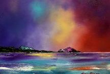Isles of Arran & Bute, Scotland.  Paintings & Prints Gallery / Paintings & prints of Arran & Bute, Scotland in mixed media ,spray paint, acrylic and oil paint by Scottish artist A Peutherer.