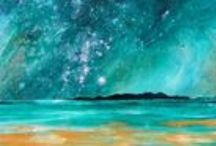 The Hebridean Isles Of Lewis, Harris & Eriskay, Scotland.  Paintings & Prints Gallery / Mixed media paintings of Scotland landscape in spray paint, acrylic and oil paint by Scottish artist A Peutherer More at www.scottishlandscapepainting.co.uk