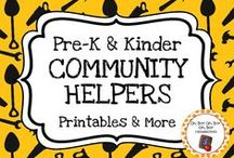 Community Helpers Theme / Community helpers theme activities, ideas and printables for your preschool or kindergarten community helper unit curriculum.  Explore librarians, grocers, crossing guard, postal worker, garbage collector, police officers and more!