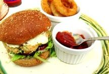Burgers and Sides / hamburgers, sliders, fries, onion rings, and sides