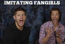 I'll Just Be Over Here Fangirling / Supernatural, Reign, Parks and Rec, Once Upon A Time, Arrow, Harry Potter, Gotham, Outlander, Lord of the Rings...ya know the usual.